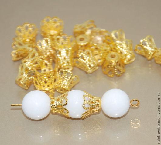 Для украшений ручной работы. Ярмарка Мастеров - ручная работа. Купить Шапочки для бусин под золото корона. Handmade.