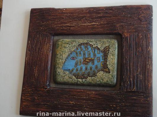 """Животные ручной работы. Ярмарка Мастеров - ручная работа. Купить живописное панно """"Под знаком рыбы"""". Handmade. Картины и панно"""