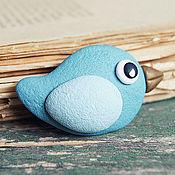 """Украшения ручной работы. Ярмарка Мастеров - ручная работа Брошки """"Птички-невелички"""" голубая. Handmade."""