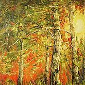 Картины и панно ручной работы. Ярмарка Мастеров - ручная работа Закат в березовом лесу. Handmade.