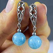 Украшения handmade. Livemaster - original item Aquamarine earrings made of natural stones. Handmade.