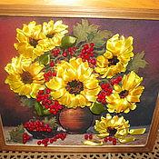 Картины и панно ручной работы. Ярмарка Мастеров - ручная работа Вышивка лентами Подсолнухи. Handmade.