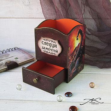 Канцелярские товары ручной работы. Ярмарка Мастеров - ручная работа Карандашница деревянная декупаж Скорпион коричневая оранжевая. Handmade.