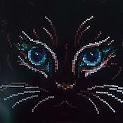 """Картины и панно ручной работы. Ярмарка Мастеров - ручная работа Вышитая картина """"Кошачий взгляд"""". Handmade."""