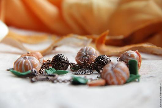 Браслеты ручной работы. Ярмарка Мастеров - ручная работа. Купить Браслет и серьги из полимерной глины Новогодняя мандаринка. Handmade. Рыжий