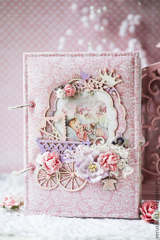 """Блокноты ручной работы. Ярмарка Мастеров - ручная работа. Купить Мамин дневник """"Моя малышка"""". Handmade. Бледно-розовый"""