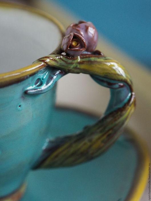 """Сервизы, чайные пары ручной работы. Ярмарка Мастеров - ручная работа. Купить Чайная пара """" Лазурные кратеры"""" Керамика. Handmade."""