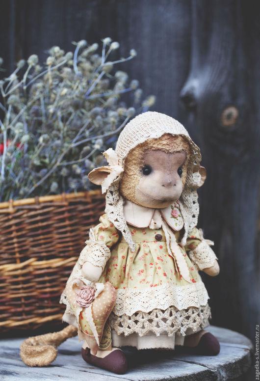 Игрушки животные, ручной работы. Ярмарка Мастеров - ручная работа. Купить Анфиска. Handmade. Разноцветный, обезьяна, старинный стиль