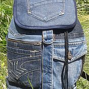 Сумки и аксессуары handmade. Livemaster - original item Backpack Pocket denim CapII. Handmade.