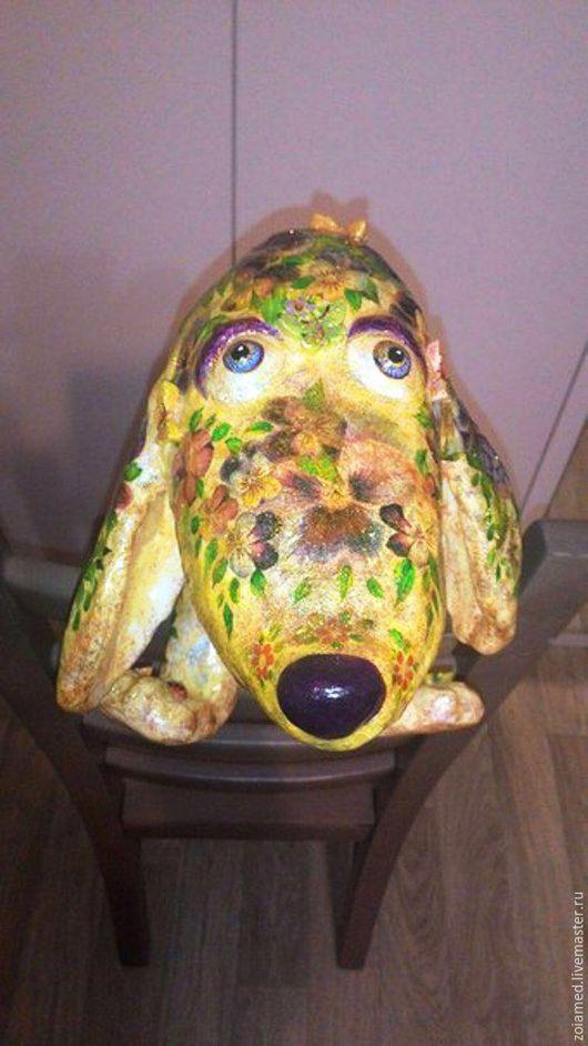 Игрушки животные, ручной работы. Ярмарка Мастеров - ручная работа. Купить Собака. Папье-маше Анютины глазки. Handmade. Собака