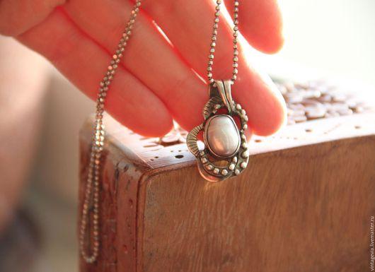 Vintage Via. Кулон с барочным жемчугом `Улыбка океана`, серебро 925,