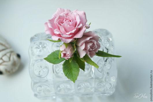 """Броши ручной работы. Ярмарка Мастеров - ручная работа. Купить Бутоньерка """" Нежные розы"""". Handmade. Бледно-розовый"""