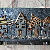 Для дома и интерьера handmade. Livemaster - original item Housekeeper Night city. The housekeeper wall. decor polymer clay.. Handmade.