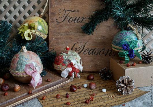 Подвески ручной работы. Ярмарка Мастеров - ручная работа. Купить Four Seasons - набор интерьерных шаров. Handmade. Новый Год