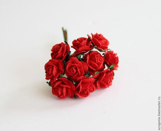 Открытки и скрапбукинг ручной работы. Ярмарка Мастеров - ручная работа. Купить Цветы розы 15 мм цвет красный. Handmade.