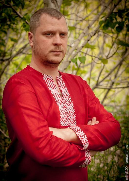 Сорочка `Одолень и Папоротник` (красная)