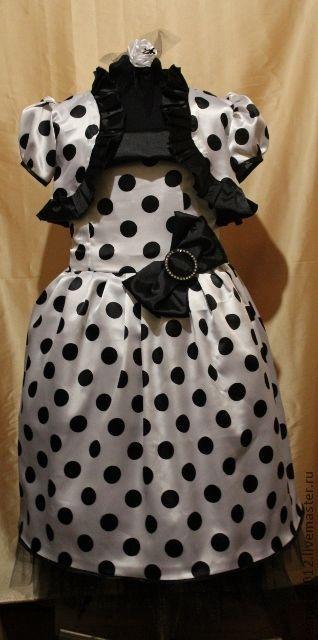 Одежда для девочек, ручной работы. Ярмарка Мастеров - ручная работа. Купить Платье для девочки в горошек с болеро. Handmade. Чёрно-белый