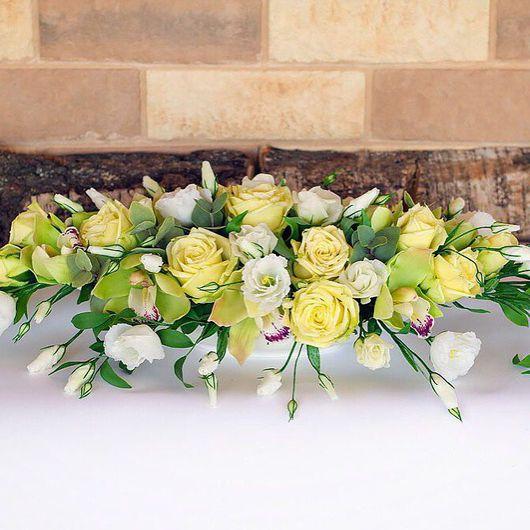 Цветы ручной работы. Ярмарка Мастеров - ручная работа. Купить Букет настольный с желтыми розами из полимерной глины. Handmade.