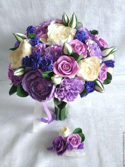Свадебный букет, Букет невесты, Букет 2016 , Свадьба 2016, Свадебный букет из полимерной глины, Свадебный букет от цветочного кутюрье Анны Горбуновой.