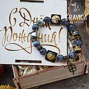 Браслет из бусин ручной работы. Ярмарка Мастеров - ручная работа Браслет из натуральных камней в коробочке. Handmade.