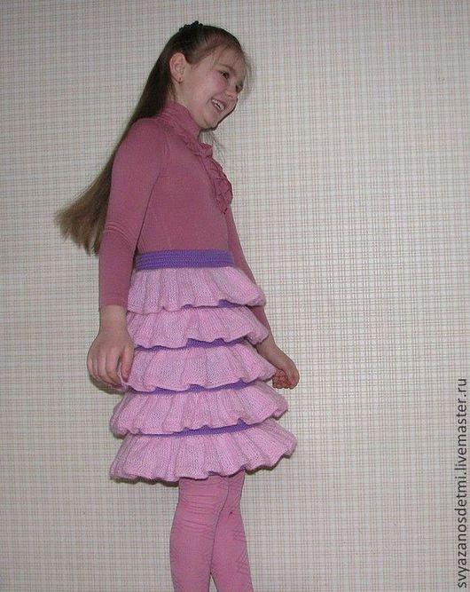 Одежда для девочек, ручной работы. Ярмарка Мастеров - ручная работа. Купить Юбочка с воланами. Handmade. Розовый, вязание, юбка с оборками