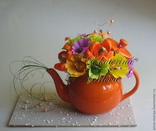 Кулинарные сувениры ручной работы. Ярмарка Мастеров - ручная работа. Купить К чаю... (букет из конфет). Handmade. Рыжий