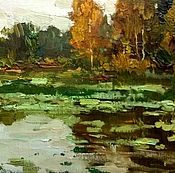 Картины и панно handmade. Livemaster - original item Sketchy oil painting in the impasto manner of autumn forest and pond. Handmade.