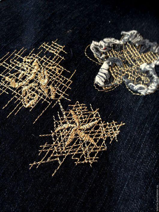 Шитье ручной работы. Ярмарка Мастеров - ручная работа. Купить Вышитый джинс черный. Handmade. Разноцветный, красивая ткань