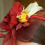 Аксессуары ручной работы. Ярмарка Мастеров - ручная работа ободок-шляпка с птицей. Handmade.