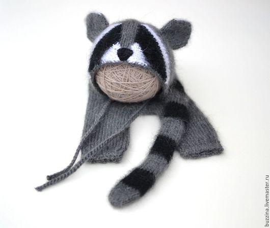 Для новорожденных, ручной работы. Ярмарка Мастеров - ручная работа. Купить Костюм для фотосессии новорожденных Крошка Енот шапочка + штанишки. Handmade.