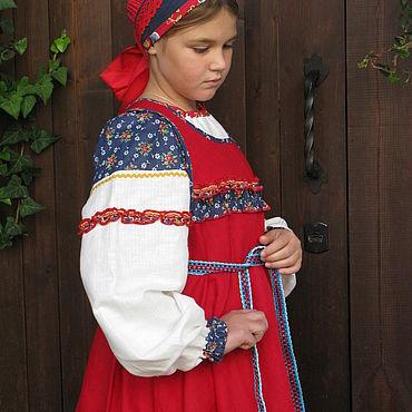 Русский стиль ручной работы. Ярмарка Мастеров - ручная работа Народные костюмы: русский костюм для девочки. Handmade.