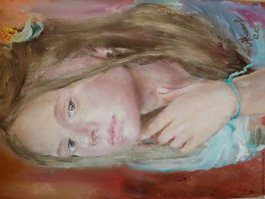 Люди, ручной работы. Ярмарка Мастеров - ручная работа. Купить Задумчивая девочка. Handmade. Бордовый, розовый цвет, девочка