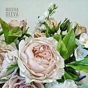 """Цветы и флористика ручной работы. Ярмарка Мастеров - ручная работа Букет из холодного фарфора """"Акварели"""", яблоня,пионы, жасмин, розы. Handmade."""