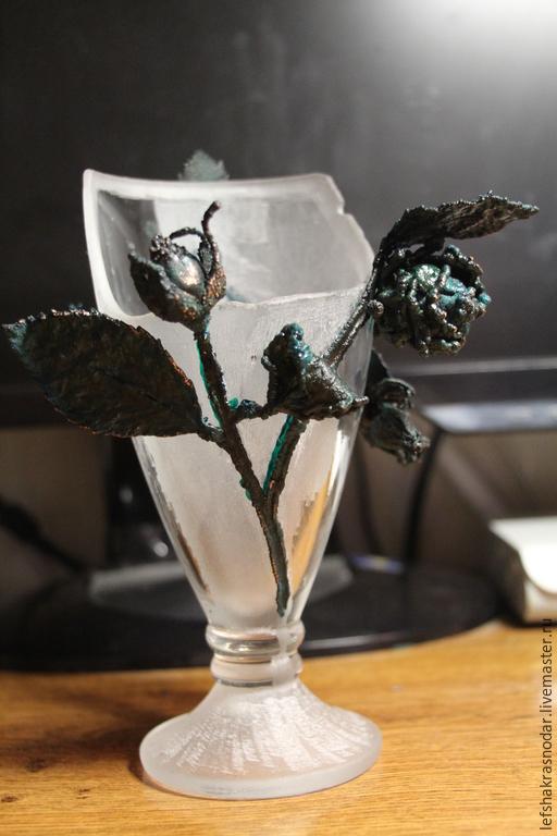 Дизайн интерьеров ручной работы. Ярмарка Мастеров - ручная работа. Купить Ваза стекло гальваника Подарок из прошлого. Handmade. Разноцветный