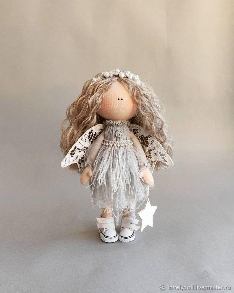 Dolls and dolls: Angel with ash curls Textile doll Hand slave, Dolls, Kiev,  Фото №1