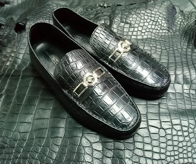 Genuine crocodile leather moccasins, handmade, black color!, Moccasins, Tosno,  Фото №1