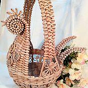 Народные сувениры ручной работы. Ярмарка Мастеров - ручная работа Корзина курочка из бумажных трубочек ажурная. Handmade.