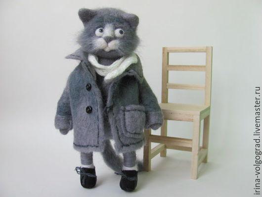 Игрушки животные, ручной работы. Ярмарка Мастеров - ручная работа. Купить Серый кот. Handmade. Серый, валяшки, коты, котэ