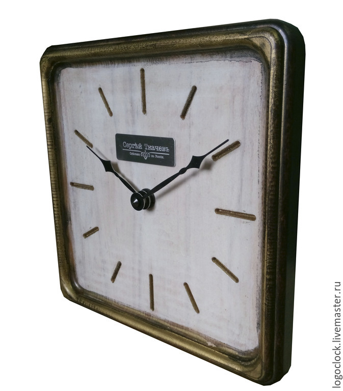 A wall clock. White beech. Old gold. Four, Watch, Moscow,  Фото №1