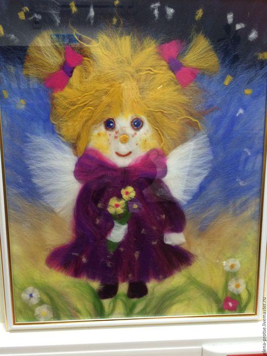 """Фантазийные сюжеты ручной работы. Ярмарка Мастеров - ручная работа. Купить Картина из шерсти """"Ангелочек"""". Handmade. Комбинированный, картина в подарок"""