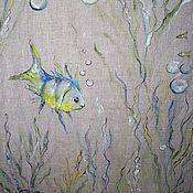 Для дома и интерьера handmade. Livemaster - original item Linen blinds with painted... On the bottom of the sea...... Handmade.