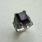 Украшения handmade. Livemaster - original item Men`s silver ring with amethyst. Handmade.