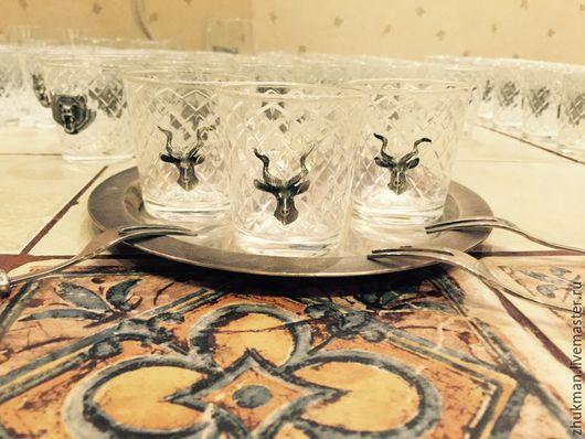 Персональные подарки ручной работы. Ярмарка Мастеров - ручная работа. Купить Набор стопок АНТИЛОПА с вилочками на троих в футляре (3х50мл + 3). Handmade.