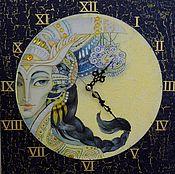 """Для дома и интерьера ручной работы. Ярмарка Мастеров - ручная работа часы """"день- ночь """". Handmade."""