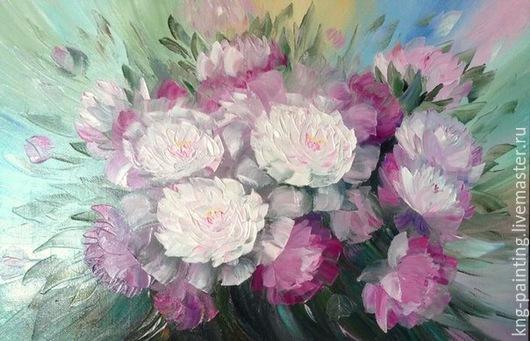 Картины цветов ручной работы. Ярмарка Мастеров - ручная работа. Купить Пионы объемные.. Handmade. Разноцветный, пионы, пурпурный, цветы