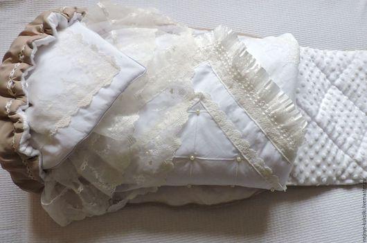 Для новорожденных, ручной работы. Ярмарка Мастеров - ручная работа. Купить Зимний комплект на выписку. Конверт и одеяло.. Handmade. Белый