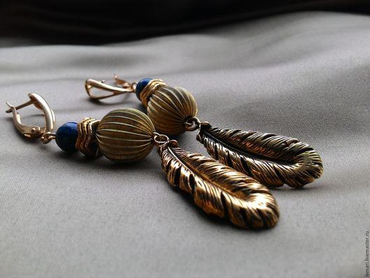 Серьги ручной работы. Ярмарка Мастеров - ручная работа. Купить Серьги Синяя птица-золотое перо. Handmade. Комбинированный