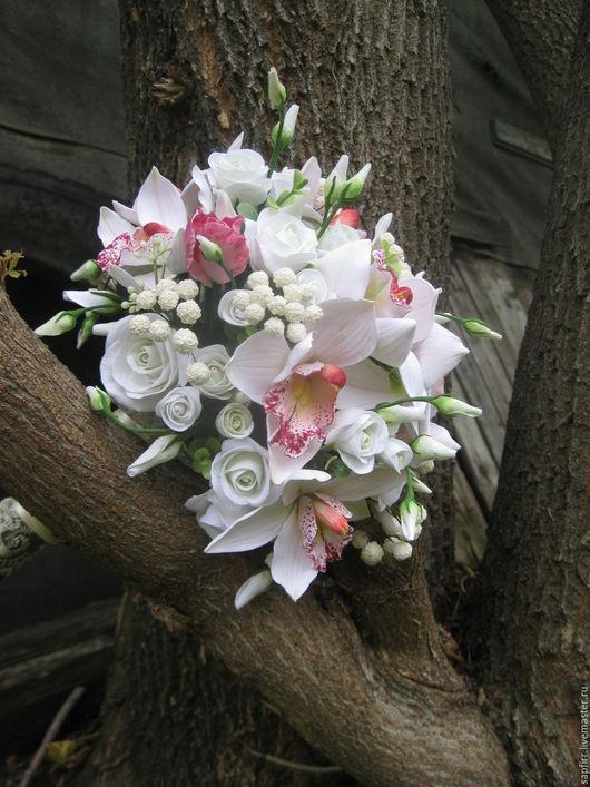 Свадебные цветы ручной работы. Ярмарка Мастеров - ручная работа. Купить свадебный букет, орхидеи. Handmade. Розовый, орхидеи