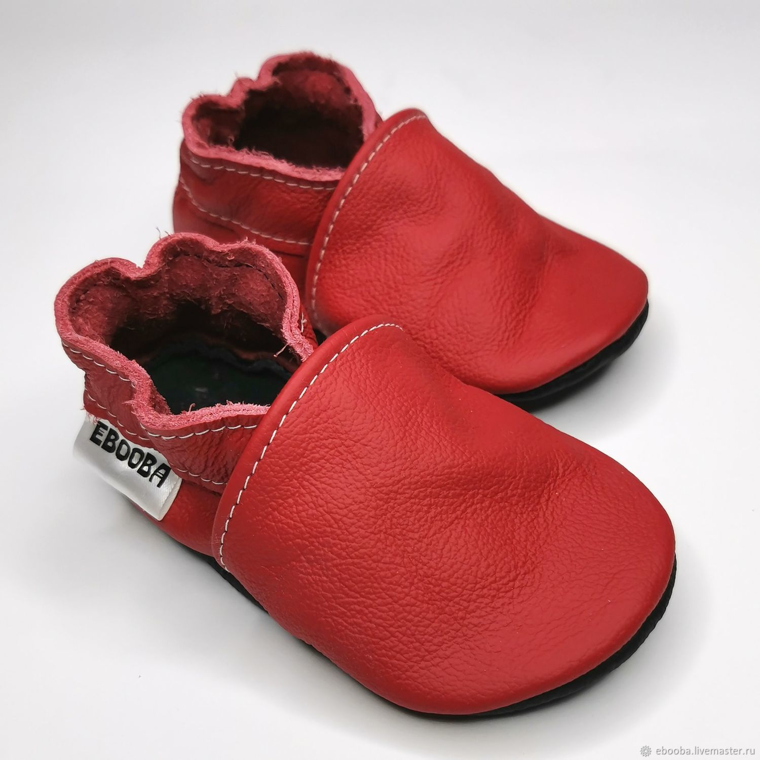 Red Baby Shoes,Baby Moccasins, Leather Baby Shoes,Ebooba, Babys bootees, Kharkiv,  Фото №1