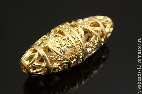 Openwork bead 11*26.5 mm, hole approx 1,5 mm, matte gold plated, material brass, made in South Korea (Ref. 2820)